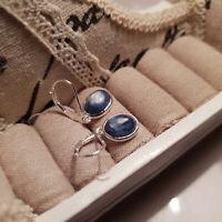 Beautiful Blue Kyanite leverback earrings in Sterling silver
