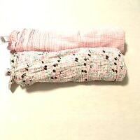 """Chick Pea Baby Girl 2 Pck Muslin Cotton Swaddle Blankets 36""""x40"""" Floral Pink"""