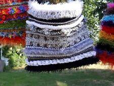LUNiQUE handmade crochet embellished bag Black, white, grey and silver 🌺🌼🌻