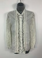 WOMENS FRENCH CONNECTION SIZE UK 10 WHITE LACE LONG SLEEVE CASUAL SHIRT BLOUSE