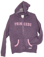 Vtg Walt Disney World Parks Purple 'PRINCESS' Hooded Full Zip Sweater Womens XXL