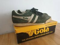 Gola Harrier Size 7 Green Suede Trainers with box
