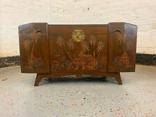 More details for uk delivery large mcm carved tiki style camphor wood oriental chest blanket box