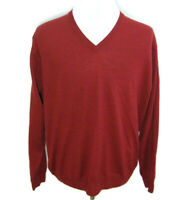 EWM Men's (Size Large) Red V-Neck Long Sleeve Pullover Sweater 100% Lambs Wool