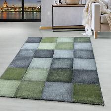 Kurzflor Teppich Grün Grau Modernes Quadrat Pixel Muster Wohnteppich Weich
