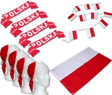 XL Polen Polska Fan Set Flagge / Fahne [1,5m groß ] 4x Schal 4x Bandana Girlande