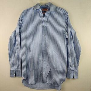 Thomas Pink Mens Striped Button Front Dress Shirt Classic Fit 15.5-36