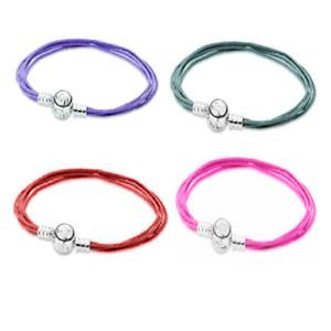 925 Sterling Moments Fabric Multi-strand String Bracelet Lavender Teal Red Pink