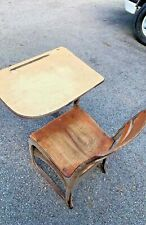 Vintage Student wooden metal chair + attached desk combo USA school house learn