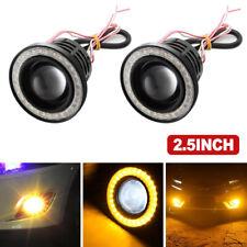 Pair 2.5'' Yellow Angel Eye Halo Ring Car Head Lamp Projector Led Fog Light(Fits: Neon)