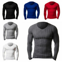 Men V Neck Jumper Long Sleeve Knit Tops Muscle Fit T Shirt Pullover Sweater Tops