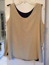 Preston & York Silk Reversible Tank Navy Blue And Yellow Size 12