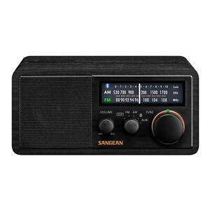 SANGEAN SG-118 AM FM Bluetooth Wooden Cabinet Radio with USB Phone Charging