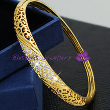 18K Yellow GOLD GF Vintage PATTERN Womens BANGLE with  CRYSTAL S631