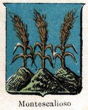 Stemma di MONTESCAGLIOSO. Matera.Basilicata. Cromolitografia. Stampa Antica.1901