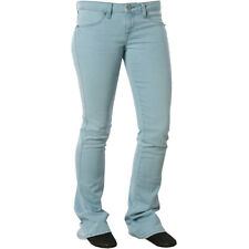 Womens Girls Volcom Pistol Skinny Flare Denim Jeans Pants Salt Wash Blue Indigo