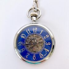 Blue Majesti 17 Jewels Pocket Watch w/Case & Chain Silver Trim Blue Face  (918D)