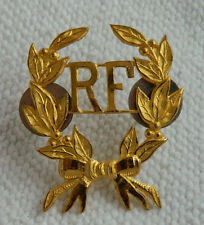 ANTIQUE FRENCH ARMY UNIFORM INSIGNIA RF REPUBLIQUE FRANÇAISE LAUREL REPURPOSING