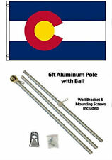 3x5 State of Colorado Flag Aluminum Pole Kit Gold Ball Top 3'x5'