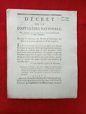 595 LOI & DECRET CONVENTION NATIONALE 1793 TRAITEMENT PORTIER CONCIERGE GUERRE