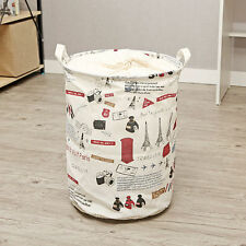 Handmade Printed Linen Cotton Laundry Basket/Organizer/Storage with Handle/Cover