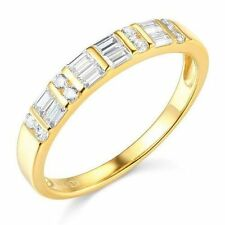 Solid 14k Yellow Gold man made women's diamond Wedding Band size 5 6 7 8 9