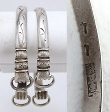 Set of 2 Unique Antique Chinese Silver Fist Hand Bangle Bracelets Signed Marked