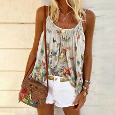 Women Summer Casual Sleeveless T Shirt Floral Suspenders Tops Beach Blouse