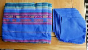 BLUE Embroidered ECUADORIAN TABLE CLOTH + 8 NAPKINS - NEW Handmade