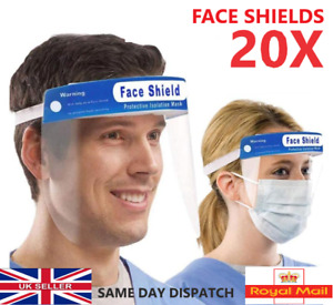 20X FACE SHIELD FULL FACE VISOR PROTECTION MASK PPE SHIELD CLEAR PLASTIC