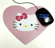 """1 (One) HEART SHAPE MOUSE PAD """" Hello Kitty """" PINK GIRL COMPUTER MOUSEPAD NEW"""
