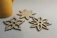 Wooden Coasters Home Decor  - set of 4 Flowers Shape