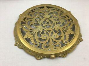 Vintage French solid brass bronze Trivet Kitchenware leaf