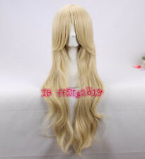 Light blonde long wavy curly cosplay hair wig + a wig cap