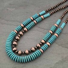 Western Copper-Tone Faux Turquoise Faux Navajo Pearl Necklace 28'