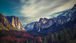 Yosemite Valley Mountain River Water Fall Nature Landscape HD POSTER