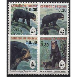 Bolivien 1991 Weltweiter Naturschutz: Brillenbär 1137/1140 postfrisch