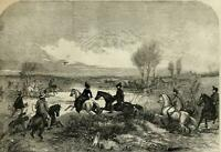 Falconry magpie hawking 1856 ILN wood engraved print