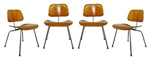 Modernist Set of 4 Eames for Herman Miller DCW Chrome Wood Chairs 2000s
