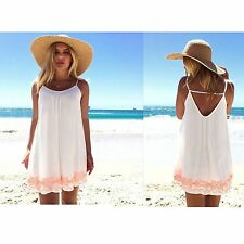 Womens Print Sleeveless O-Neck Beach Mini Backless Summer Open Back Beach Dress