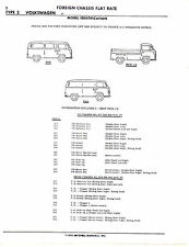 1954 TO 1968 VW TYPE 2 TRANSPORTER BUS VAN CHASSIS PARTS LIST NUMBERS SHEETS IMP