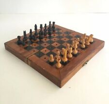 Vintage Travel Chess Set Spanish Olive Wood Board Pegged Pieces Incomplete