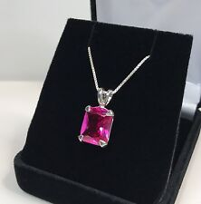 Gorgeous 7ct Emerald Cut Pink Sapphire & Sterling Silver Pendant Necklace NWT