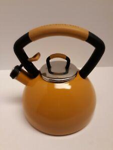 KITCHENAID Porcelain Tea Kettle 2.2 QT Whistling Stainless Steel Yellow Teapot