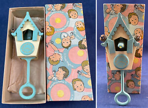 Vintage Plastic Playthings Inc. Childs Cuckoo Clock Baby Rattle Infant Toy & Box
