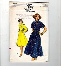 Vtg 9434 Mandarin Collar Dress Wrap Belt Very Easy Vogue Sewing Pattern 12