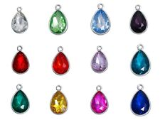 ❤ 2 x Silver Tone BIRTHSTONE Glass Charm Pendant For Necklace Bracelet 19mm ❤