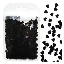 Heart Flakes Shape Black Holographic Nail Art Glitter Sequins Decorations Love