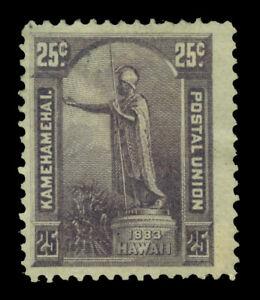 HAWAII  1883  King Kamehameha statue  25c dk violet  Scott # 47 mint MH