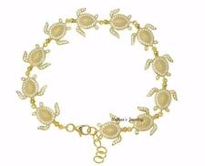 YELLOW GOLD PLATED SOLID 925 SILVER HAWAIIAN SEA TURTLE LINK BRACELET CZ 7.5INCH